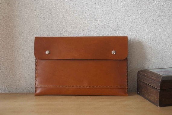 13 inch MacBook Air sleeve, 13 inch MacBook Air case, MacBook Air 13 sleeve with pocket - brown leather