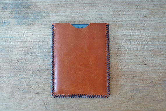 Kindle sleeve case - brown leather - hand stitched