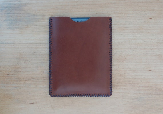 Kindle sleeve case - dark brown leather - hand stitched