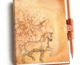 Free initials Oak tree horse leather journal