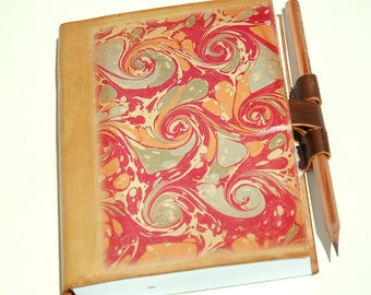 Sea of Love Marbeled leather journal