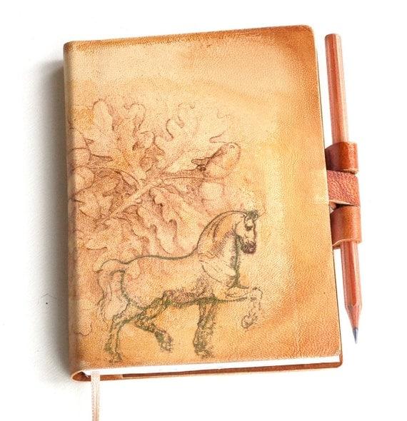 Free initials Oak tree horse leather journal