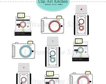 Printable Digital clip art: Camera set