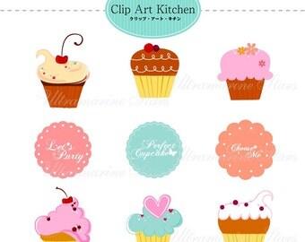 Printable Digital clip art : Cupcake and cupcake topper