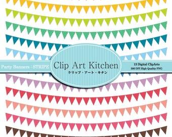 Party Banners Clip Art, Colorful Stripe set