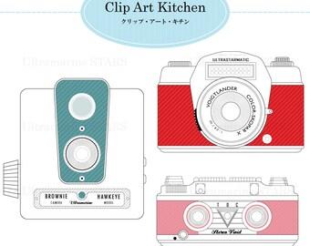 Printable Digital clip art: Vintage Camera set