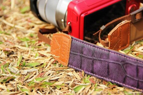 Crocodile purple camera strap