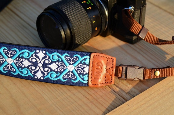 Classic Damask Navy camera strap with quick release buckles