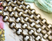 Chain : Antique Bronze Rolo Chain / Brass Ox Cross Chain - 3.8mm x 1mm ... SOLD PER 10 FEET ... Lead, Nickel & Cadmium Free 078-2