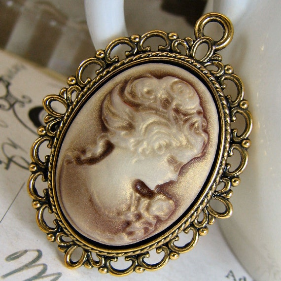 Resin Cameo Cabochons ... 3 Pcs Gold Dusted Coffee Victorian Lady Cameo ... 18mm x 25mm ... Attach to Pins, Rings, or Pendants 1oz