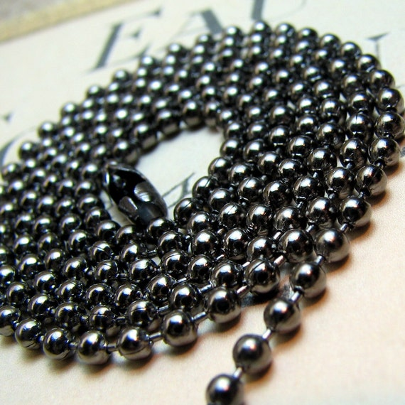 Ball Chain : 1 24-inch 2.4mm Gunmetal Ball Chain Necklace with Connector ... Lead, Nickel & Cadmium Free 100.24 K2
