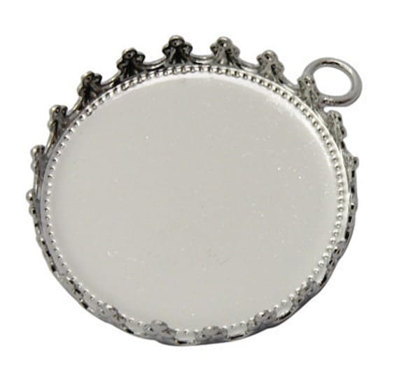 Pendant Tray / Pendant Setting -- Platinum Round Frame Cameo / Picture Setting ... 5 pieces ... Holds 25mm Cabochon KKJ081-P.5