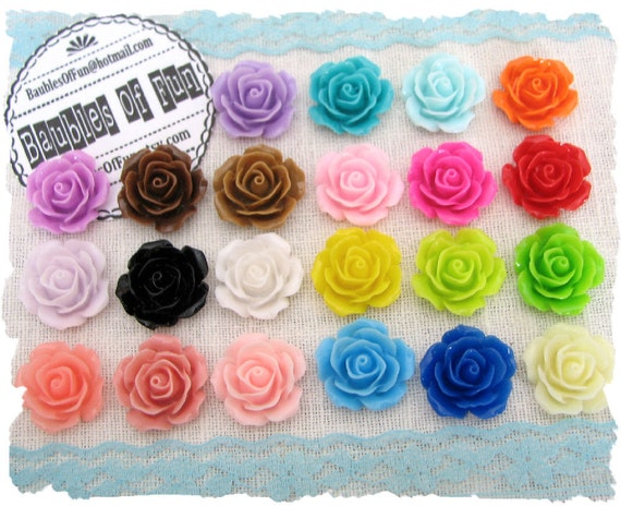 Resin Cabochons / Resin Flowers - 10 pcs Resin Roses / Resin Flower Cabochons 18mm ... Mixed Lot 2oz
