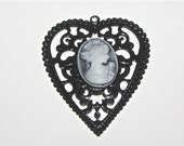 Gothic Black Heart Cameo Pendant