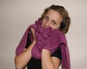 Knitwear -Scarf oversized hand knit long  - Neck wrap