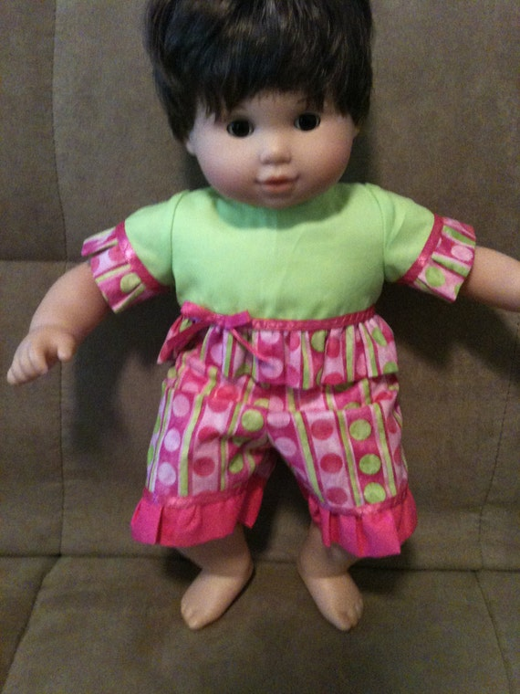 15 inch baby doll (fits Bitty Baby) pink and green capri set