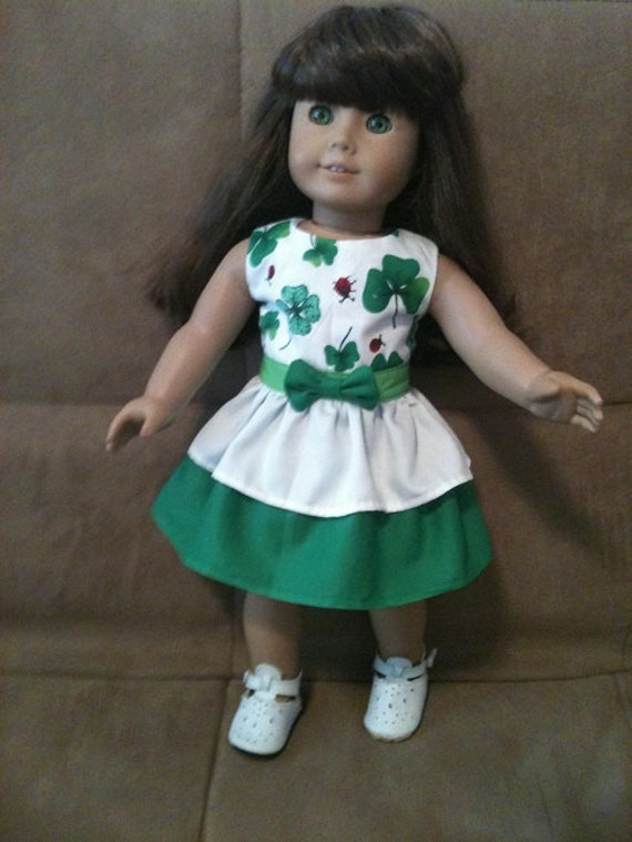 18 inch doll (modeled by American Girl) St. Patrick's Day and Spring dress