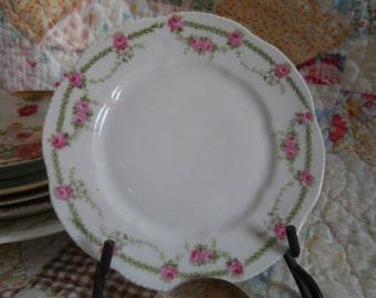 Vintage Bavaria Pink Roses Dessert Plate