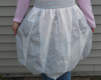 Vintage White and Calico Handmade Apron