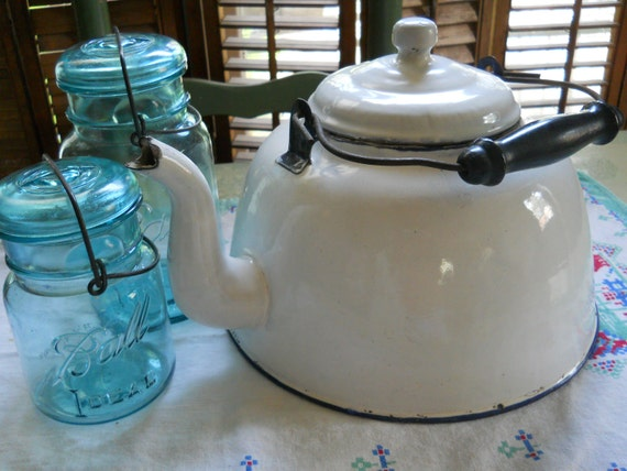 Extra Large Enamelware  Tea Kettle