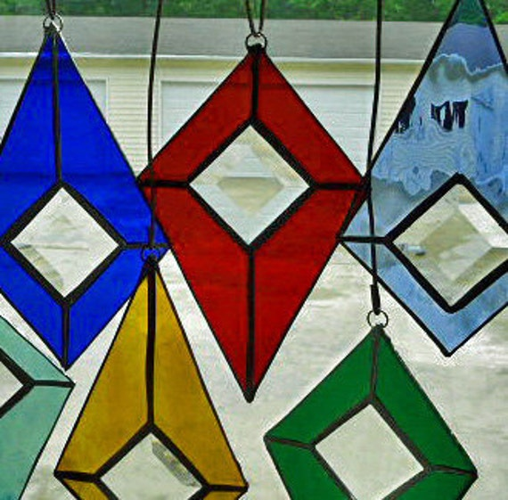 Stained Glass Suncatcher  Rich Red with Clear Bevel Center