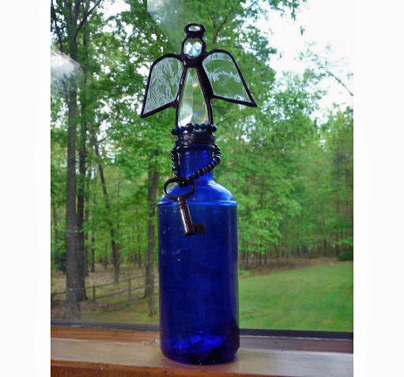 Stained Glass Angel on Vintage Cobalt Blue Bottle with Beads and Vintage Key