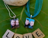 Customized Photo Scrabble Tile Pendant - You choose cord and color choice :)