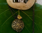 Brass Locket with Yellow Flecked Sea Pottery on Ball Chain :)
