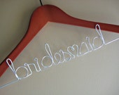 Personalized Wedding Dress Hanger CHERRY wood SILVER wire