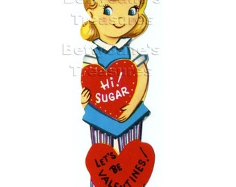 1950s Vintage Blond Girl SUGAR Valentine, unused,