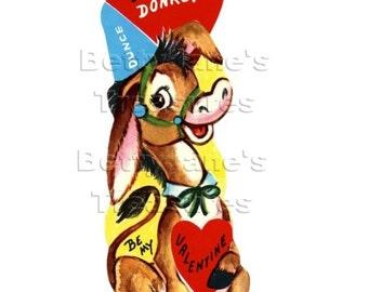 1950s Vintage donkey Valentine, unused