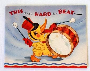 1940s Vintage Duck Drummer Patriotic USA Christmas Card, unused