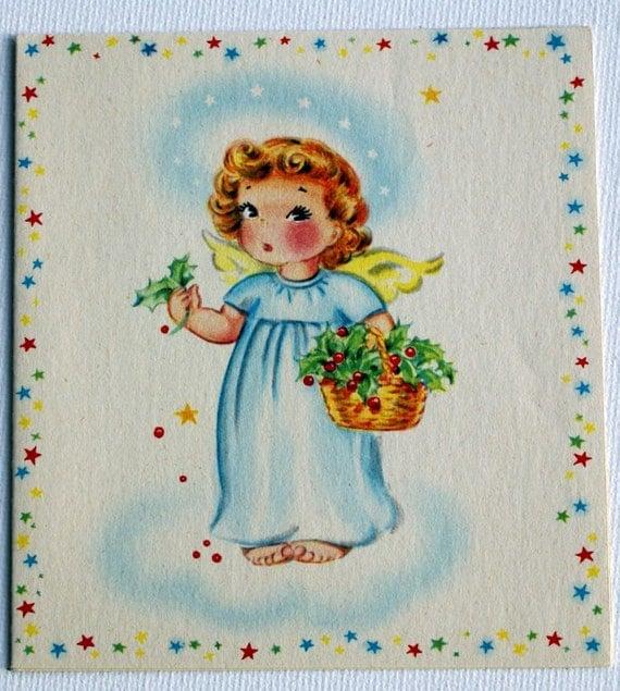 1940s Vintage Angel Notecard, unused
