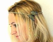 Hippie Headband with Green Butterfly Beaded Hemp Headband