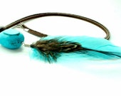 Turquoise Feather Necklace Boho Jewelry Hippie Brown Leather Turquoise nugget Long Necklace