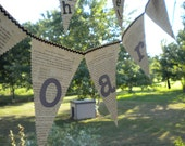 Book pennant vintage paper banner Soar free shipping