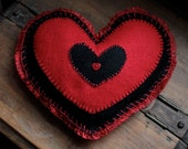Special Save 3.00 now 7.00 VALENTINE'S  DAY Red HEART Pillow Handmade of Felt