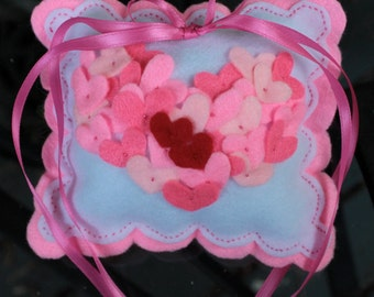 One of a Kind Felt Two Hearts Wedding Ring Bearer  or Valentine Pillow Special reg. 16.00 now 11.00