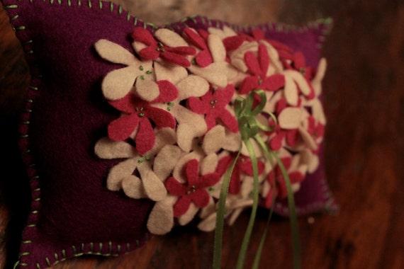 OOAK  Felt Handstitched RING BEARERS Wedding Pillow Special reg. 22.00 now 14.75