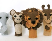 Safari Animals Felt Finger Puppet Set,  3D Storytelling Props, Hand Stitched Lion, Monkey, Giraffe, and Elephant