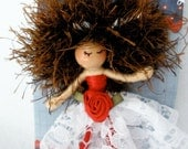 Bendy Doll Pin, Bendy Brooch, Halfpenny Ballerina, Red/White Lace