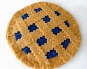 Felt Blueberry Pie Coasters, Set of Four, Hostess Gift,  Blueberry Tart Hand Stitched MugMats