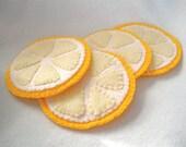 Felt Coasters, Lemon Slice Fruit Coasters, Hostess Gift, MugMats Set of Four Hand Stitched Citrus Coasters