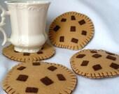 Felt Chocolate Chip Cookie Coasters, Hostess Gift,  MugMats Set of Four,  Hand Stitched Bakery Coaster
