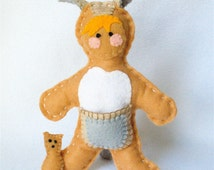 Stuffed Kangaroo Doll,  Felt Kangaroo Crib Toy, Plush Doll,  Halloween Kangaroo Costume, Kids In Costumes