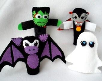 Halloween Felt Finger Puppet Set,  Frankenstein, Dracula,  Bat,  Ghost Puppets, Storytelling Props,  Frankie, Drac, Batty,  and Boo