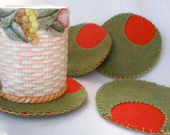 Felt Olive Coasters, Spanish Olive,  Martini Coasters, Hostess Gift,  Green Olives With Pimento,  MugMats Set of Four