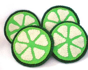 Felt Lime Coasters, Fruit Coasters, Hostess Gift, Citrus MugMats, Set of Four, Fruit Slices