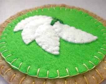 Felt Key Lime Pie Coasters, Lime Tart MugMats, Hostess Gift, Set of Four, MugMats