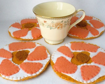 Felt Bagel Coasters,  Lox and Cream Cheese,  Hand Stitched, Hostess Gift, MugMats Set of Four,  Sunday Breakfast
